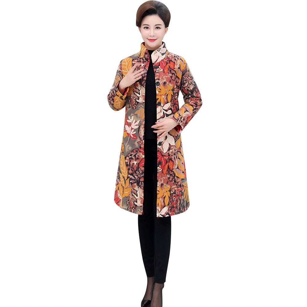 Dacawin Winter Sale-Womens Vintage Ethnic Wind Print Cotton Linen Warm Long Jacket Overcoat by Dacawin