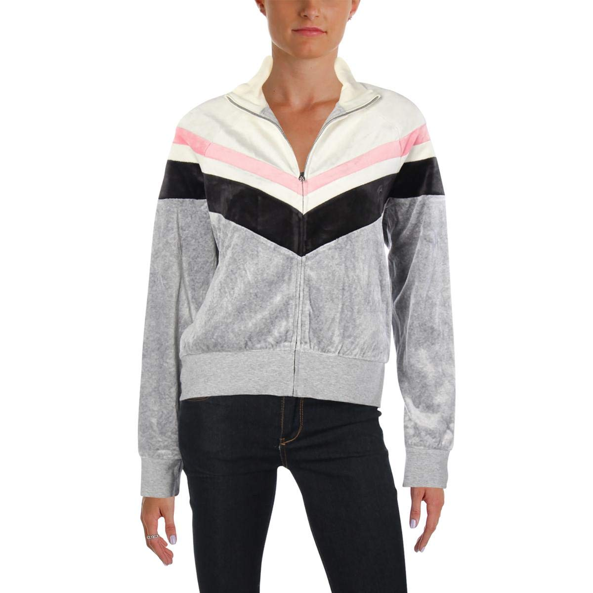 199e921bed08 Amazon.com: Juicy Couture Black Label Womens Palisades Velour Colorblock  Jacket Gray S: Clothing