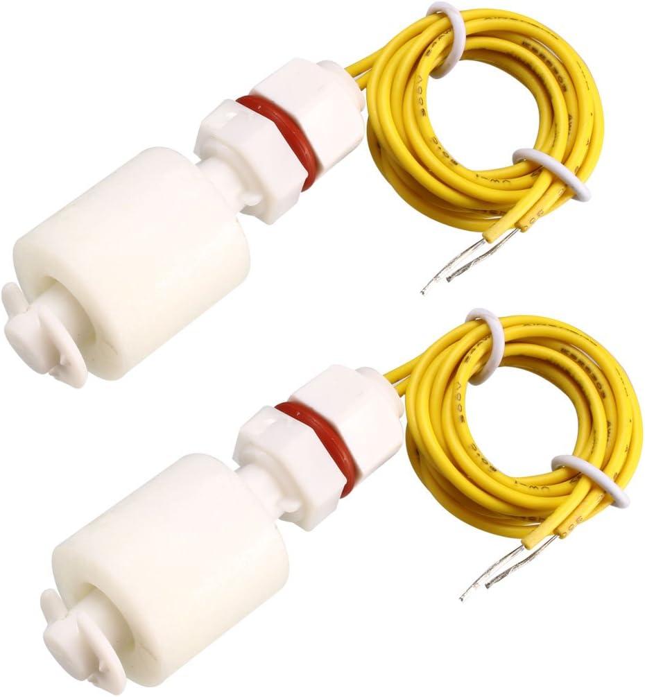 sourcing map Interruptor de flotador M8 46mm pecera l/íquido Vertical Sensor de nivel de agua 2 piezas PP
