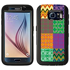 Skin Decal for Otterbox Defender Samsung Galaxy S6 Case - Colorful Quilt Pattern