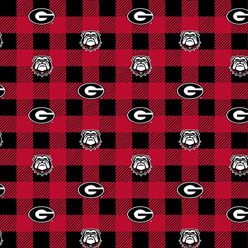 University of Georgia Fleece Blanket Fabric-Georgia Bulldogs Fleece Fabric with Buffalo Plaid Design