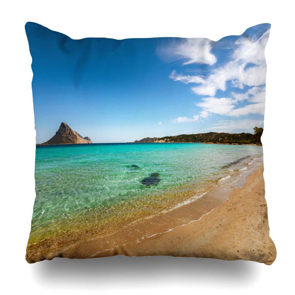 Ahawoso Throw Pillow Cover Pillowcase Square 20x20 Sunrise Sardinia Rlocation Near by Splendid Sandy Idyllic Taverna Beach Nature Coast Parks Outdoor Decorative Cushion Case Home Decor Pillowslip