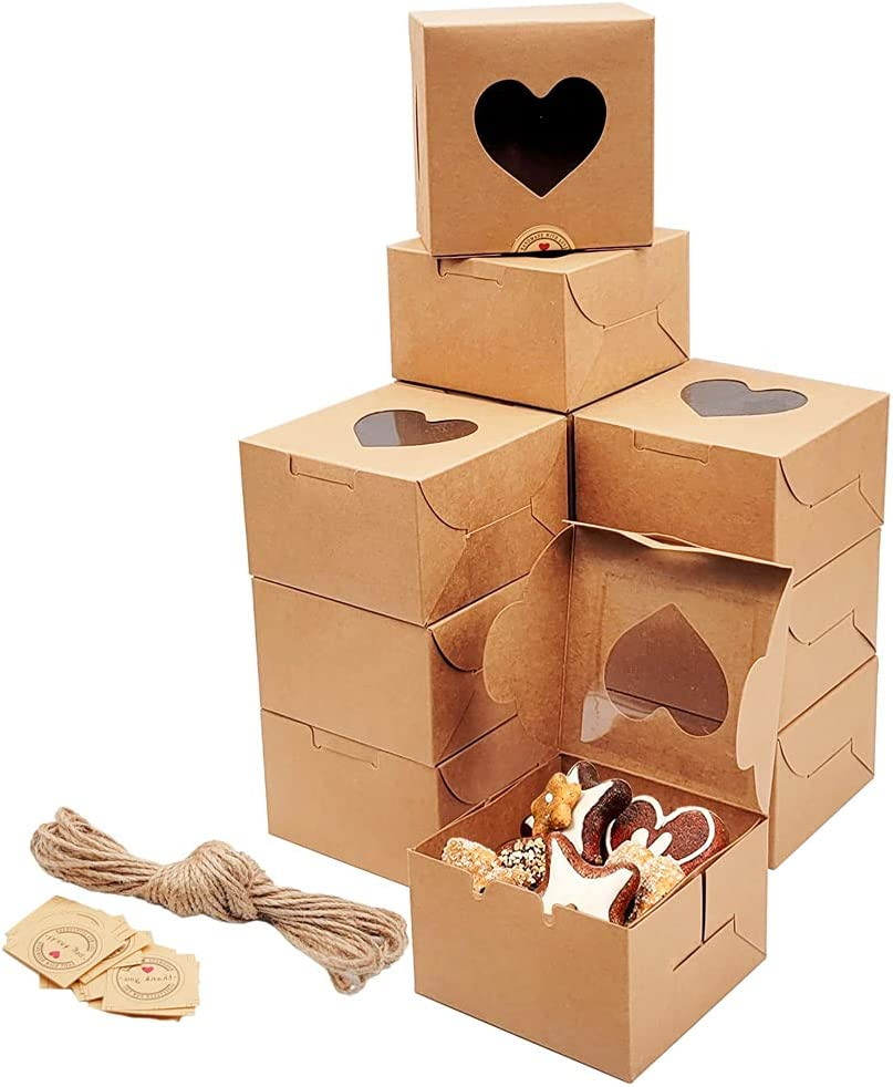 HLOMVE 12pcs Bakery Boxes with Window, White Cookie Boxes 4x4x2.5 Inches Cupcake Boxes Small Pastry Treat Boxes with Love Heart Shaped Window for Thanksgiving and Valentine's Day
