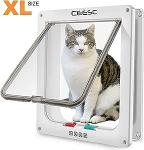 """CEESC Pet Door for Cats & Doggie (Outer Size 11"""" x 9.8""""), 4 Way Locking Extra Large Cat Door for Interior Exterior Doors, Weatherproof Cat Flap Door for Pet with Circumference < 24.8"""""""
