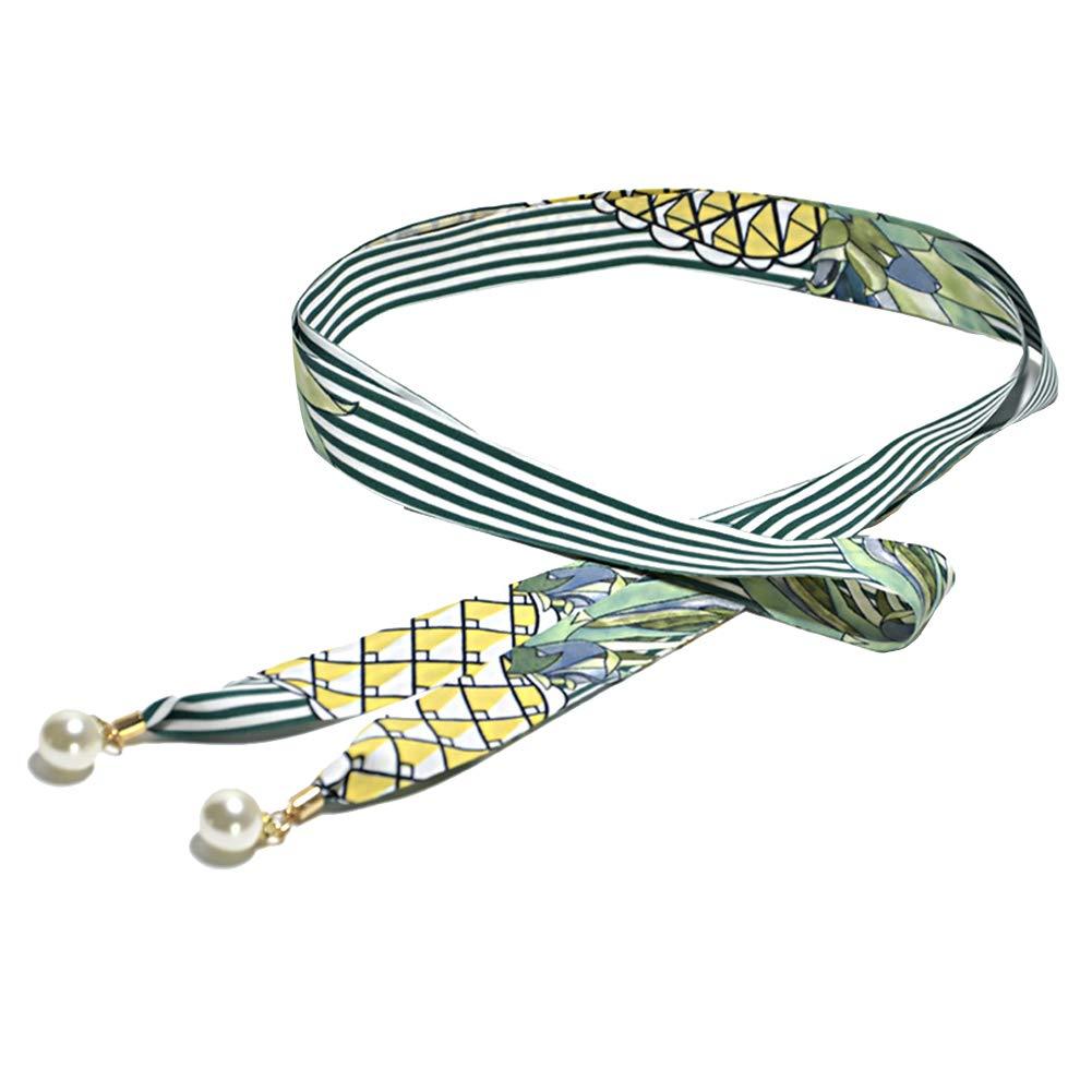 Alamana Vintage Stripes Floral Slim Faux Pearl Pendant Women Waist Belt Strap Waistband - White Green Stripe