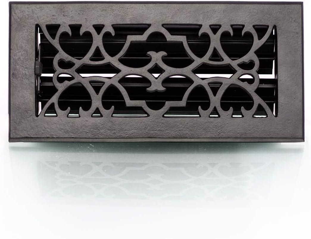 antikas–Rejilla de aire regulable, rejilla de ventilación para horno, chimenea rejilla, color negro