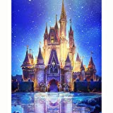 HKKYT 5D DIY Diamond Painting kit Resin Rhinestone Embroidery Cross Stitch Full Drill Home Wall Decor Starry Castle (20x25cm)