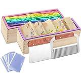 Kyerivs - Juego de moldes de jabón de silicona para hacer jabón, moldes rectangulares flexibles con cajas de madera, 2 piezas