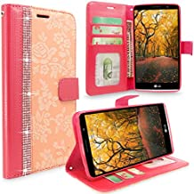 LG G4 Case, G4 Case, Cellularvilla [Stand Feature] Flower Texture Wallet Case [Diamond Jewel] Premium [Bling Luxury] Pu Leather Flip Cover [Card Slots] For LG G4 (Peach Pink Bling)
