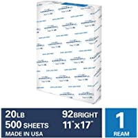 Hammermill  20lb Copy Paper, 11 x 17, 1 Ream, 500 Sheets, Made in USA, Sustainably Sourced From American Family Tree Farms, 92 Bright, Acid Free, Economical Multipurpose Printer Paper, 105023R