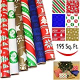 """Arts & Crafts : 6 Rolls Holiday Gift Wrapping Paper (30"""" X 156"""") for Holiday Gift Wrap, Christmas Gift Wrapping Decoration, School Classrooms, Party Favors by Joiedomi"""