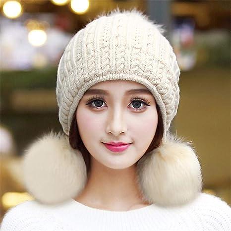 Gxinyanlong Boinas de Invierno para Mujer cálidas Gorras Tejidas ...