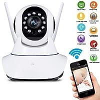 CIC Câmera de Segurança Wireless 1080p com Controle de Inclinação Panorâmico Zoom Digital 4x Visão Noturna e Áudio Bidirecional, Branco e Preto