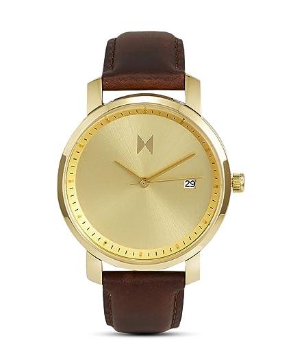 Reloj de mujer de oro MVMT relojes pulsera de piel marrón/MF01-GBR: Amazon.es: Relojes