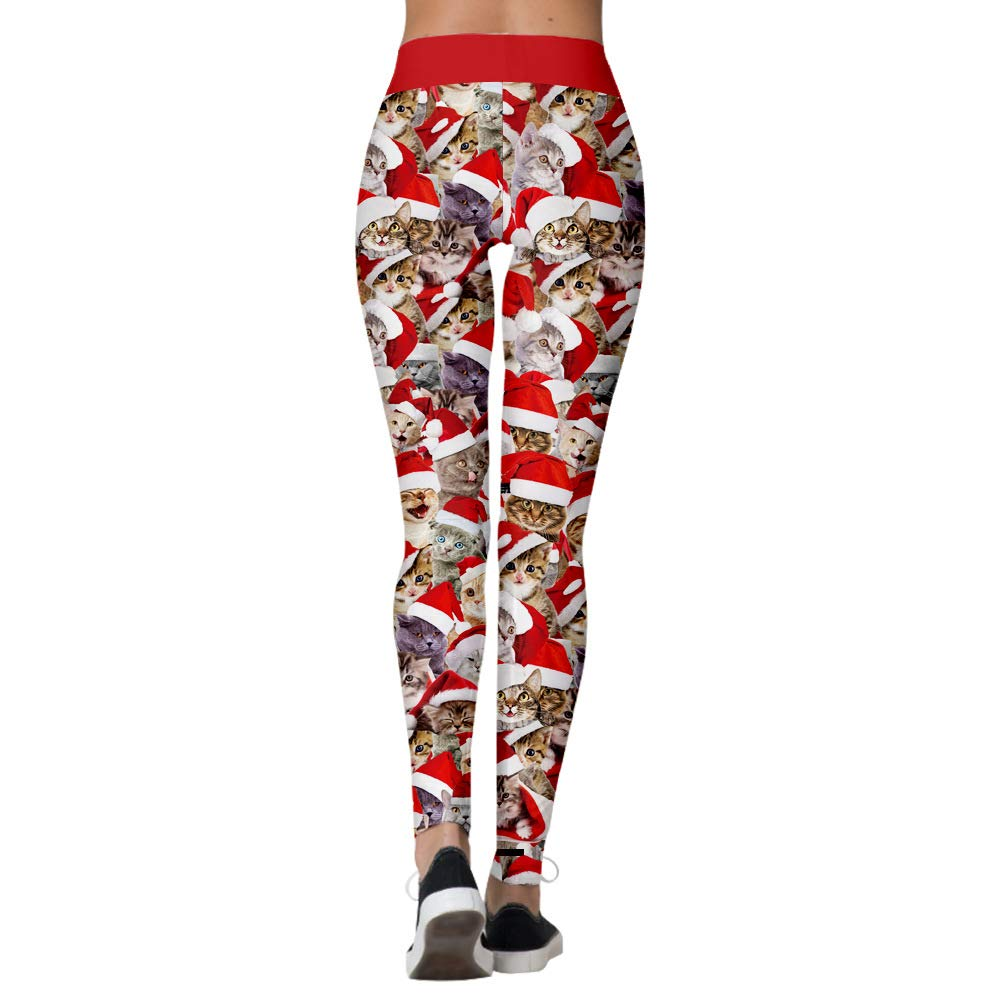 Yaavii Legging No/ël Femme,Legging de Sport Femme Taille Haute Elastiques avec Imprim/é Th/ème No/ël