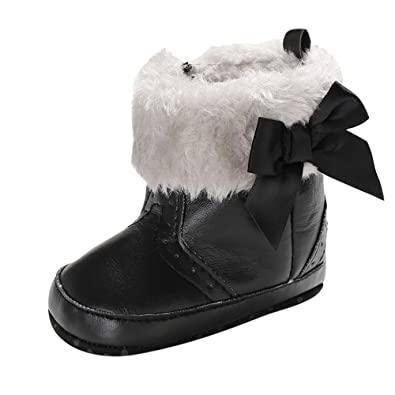 Felicy Kids Baby Boys Girls Bow Pure Color High Gang Snow Boots Winter Warm  Soft Sole 394c691a5860