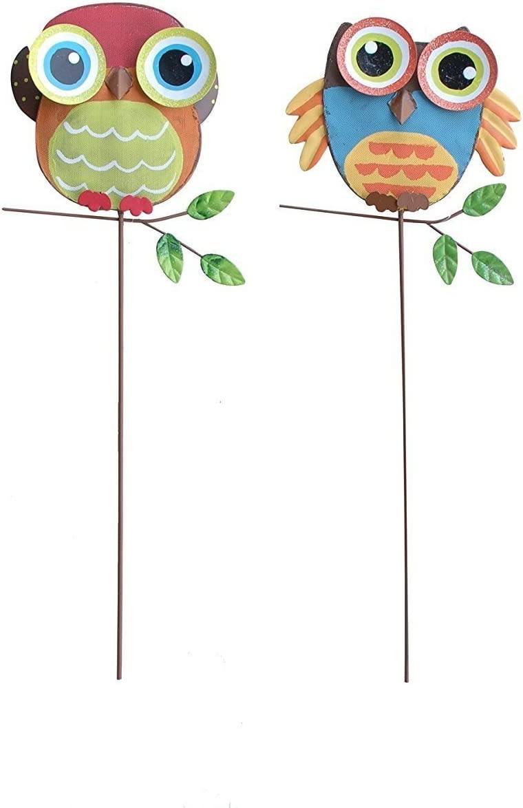 """Grace Home 16"""" Tall Funky Owl Yard Stake Owl Garden Decoration Set of 2"""