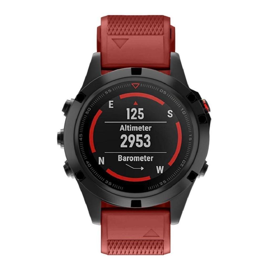 Sannysis Correas para Garmin Fenix 5 GPS, Banda de Silicona de Garmin Fenix 5 Correa 22cm (Rojo): Amazon.es: Deportes y aire libre