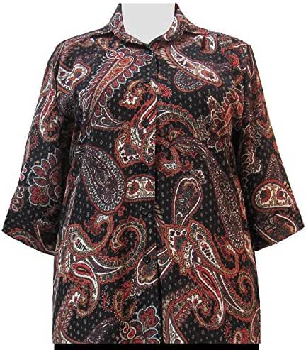 A Personal Touch Brown Bombay 3/4 Sleeve Women's Plus Size Blouse