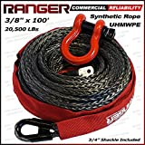 "Ranger 3/8"" x 100' Durable UHMWPE Synthetic Winch Rope Cable 20,500LBs with Protective Sleeve"