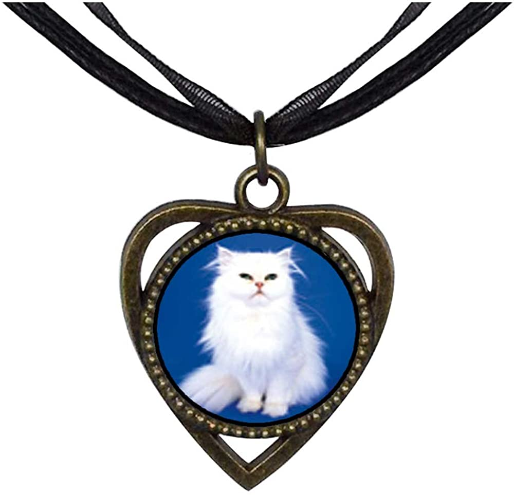 GiftJewelryShop Bronze Retro Style White Fluffy Cat Heart Shaped Pendant Charm Necklaces