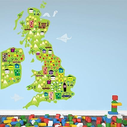 Mapa de referencia vinilos decorativo Mapa del Reino Unido e Irlanda ...