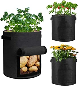 AUSTARK 5 Gallon Plant Grow Bags, 3 Pack Vegetable Growing Bags Potato Tomato Planter Bags Fabric Garden Pots with Handles and Harvest Window (Black)