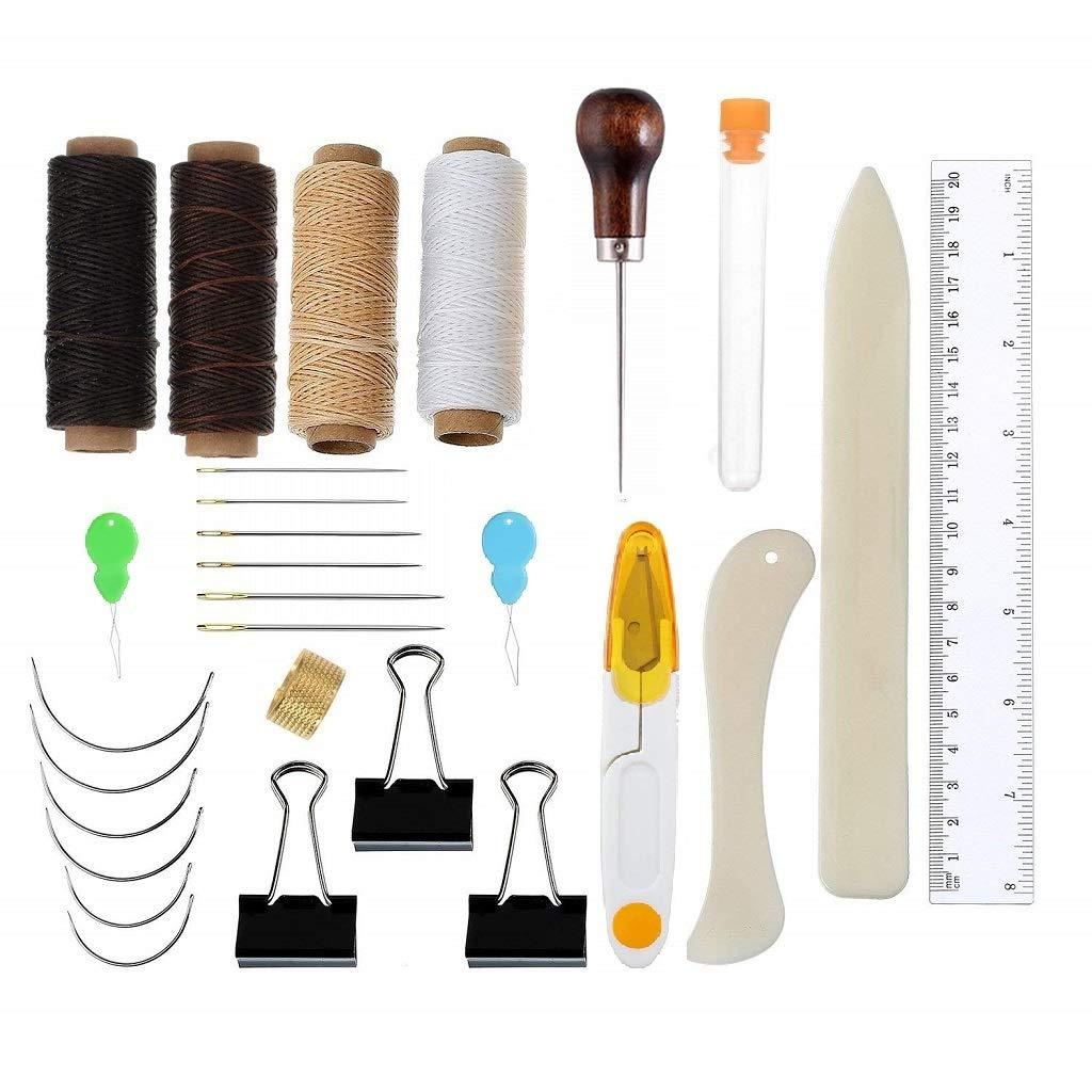Ebeta Legatoria Tools Set 28 Pezzi Rilegatura di Libri Strumenti Set Bone Folder Paper Creaser, Filo Cerato, punteruolo, Aghi di Grandi Occhi Kit per DIY Mestieri e Forniture per Cucire