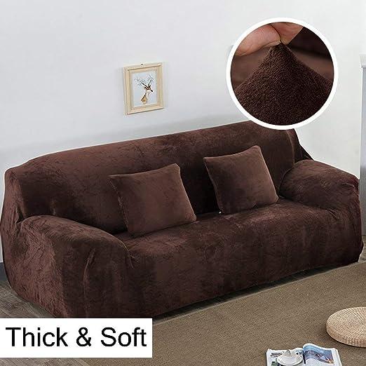 Fundas gruesas para sofás de 1, 2, 3 y 4 asientos, color puro, de terciopelo, fáciles de ajustar y de tejido elástico, café, 3 Seater:195-230cm