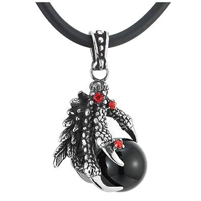 iMETACLII Balón Negro Vintage Dragón Garra Colgante con Rojo ...