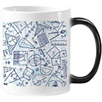DIYthinker Blue Hand Painted Math Ruler Calculator Scissors Illustration Morphing Heat Sensitive Changing Color Mug Cup…