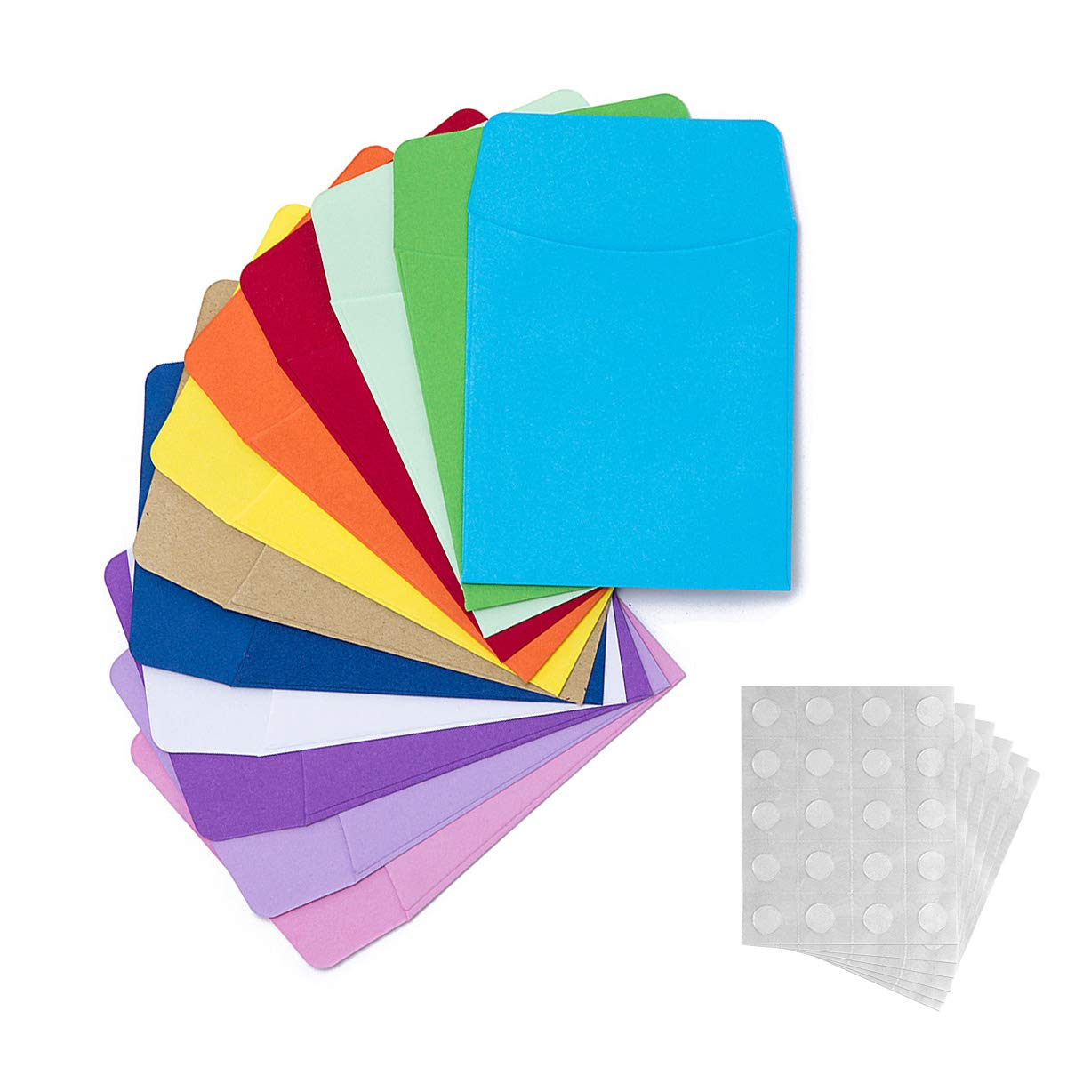 120 Pieces Non-Adhesive Library Card Pockets Small Envelopes with 120 Pieces Adhesive Double Sided Glue Points for School, Library, Office Task Trackers and Gift Tag (Pocket Envelopes) by peony man