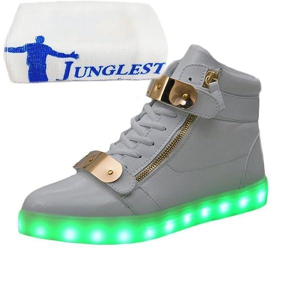 [Presente:pequeña toalla]Blanco - blanco EU 38, corta de la corta Casual adultos en zapatillas colores carga 11 de LED lentejuelas manera luz de de zapatos de y manga mano la JUNGLEST®