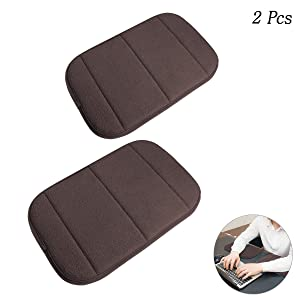 2 Pack Portable Computer Elbow Wrist Pad, Hatisan Premium Memory Cotton Desktop Keyboard Arm Rest Support Mat for Office Home Laptops - More Comfort & Less Strain(7.9 x 11.8)(Brown)
