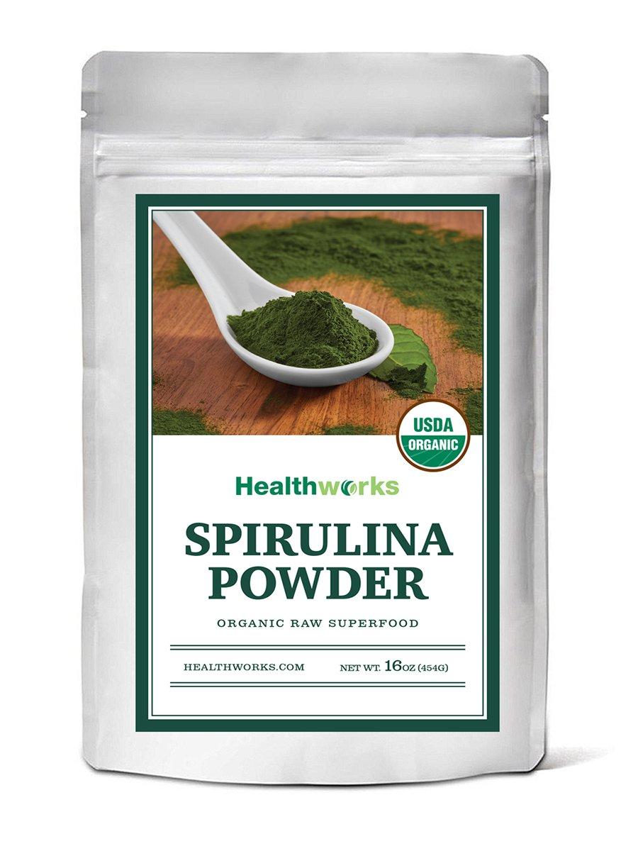 Healthworks Organic Spirulina Powder 1lb - Raw, Non-Irradiated and All-Natural