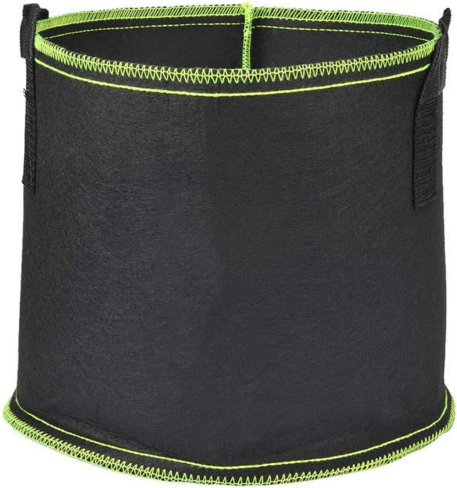 CAVEEN Strawberry Plant Bag, 10 Gallon Garden Planters Bags, Planting Pouch Fabric Grow Pots Grow Vegetables, Breathable Strawberry Pot Planting Grow Bags with Handles and Pockets, 2 Pack, Green