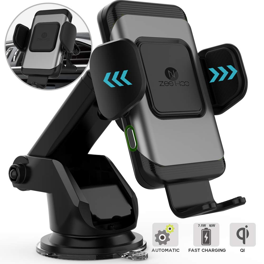 ZeeHoo Wireless Car Charger,10W Qi Fast Charging Auto-Clamping Car Mount,Windshield Dash Air Vent Phone Holder Compatible iPhone 11/11 Pro/11 Pro Max/Xs MAX/XS/XR/X/8/8+,Samsung S10/S10+/S9/S9+/S8/S8+ by ZEEHOO