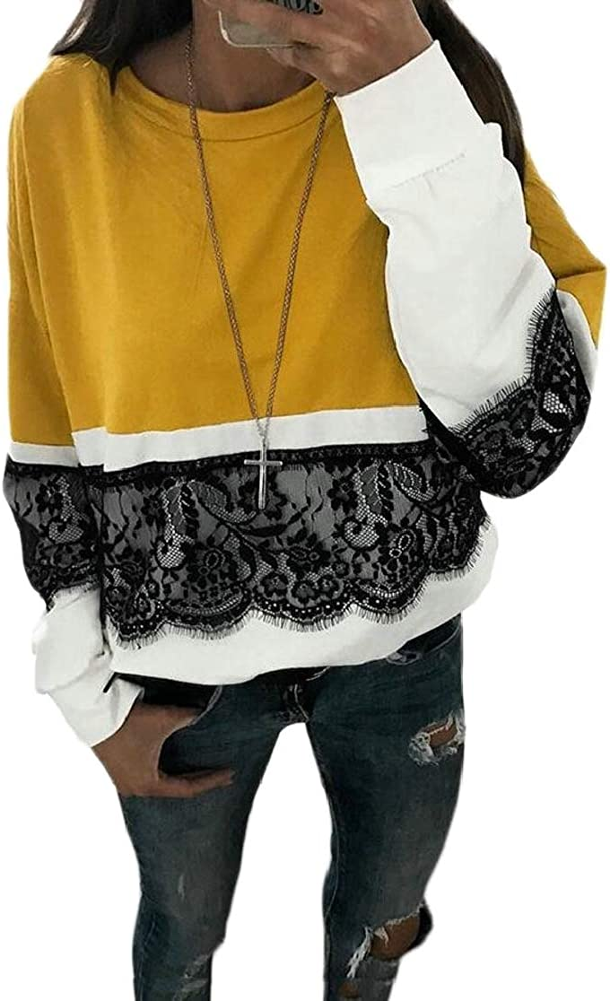 M/&S/&W Womens Fashion Lace Stitching Long Sleeve Colorblock T Shirt Tops