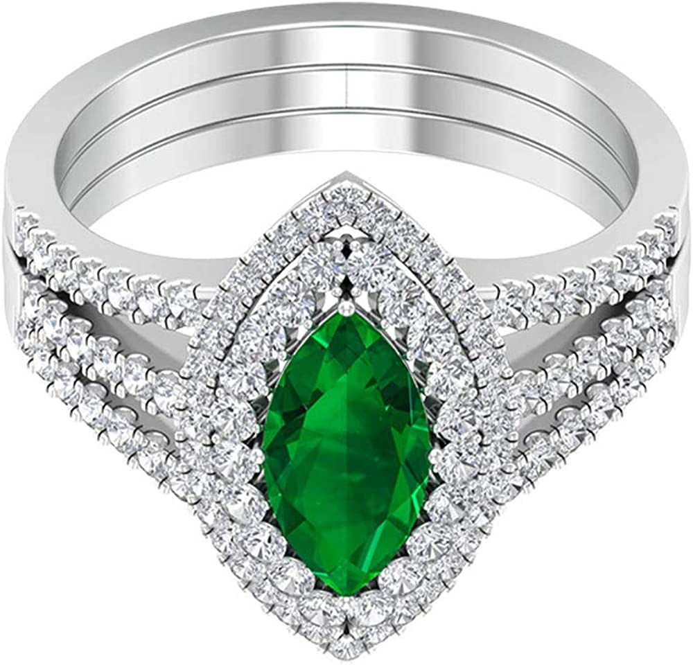 Anillo de esmeralda con forma de marquesa de 1,4 ct, 0,9 ct, certificado SGL, anillo de boda con halo de diamante, solitario, 18K Oro