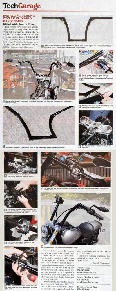 DEMONS CYCLE 16 Chrome El Diablo Ape Hangers 1-1//4 diameter Internally Wired with Switches for Harley-Davidson