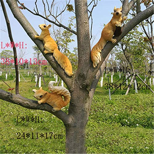Outdoor Garden Kindergarten Resin Squirrel Ornament Craft Decoration Home Courtyard Creative Simulation Tree Animal Sculpture style15-3PCS -