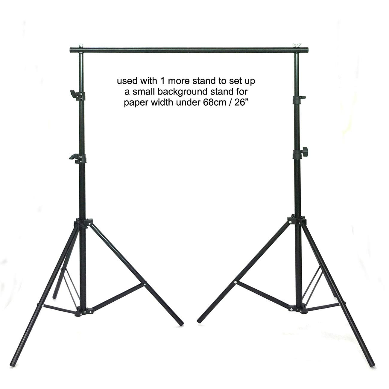 Huamei Photography T-shape Background Support Stand 31.5 inches Wide x 6.5 ft with 2 Tight Clamps (T082)