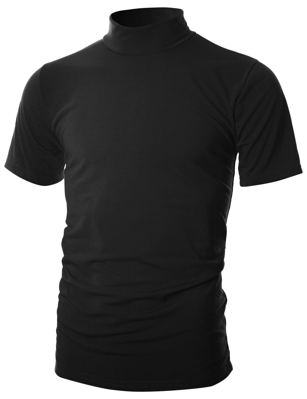 Ohoo Mens Slim Fit Soft Cotton Short Sleeve Pullover Lightweight Turtleneck with Warm Inside /DCT101-BLACK-M