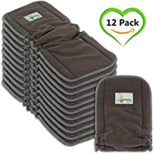 Naturally Natures Cloth Diaper Inserts 5 Layer - insert - Charcoal Bamboo Viscose Staple Fiber Reusable Liners with Gussets (Pack of 12) (Grey) liner