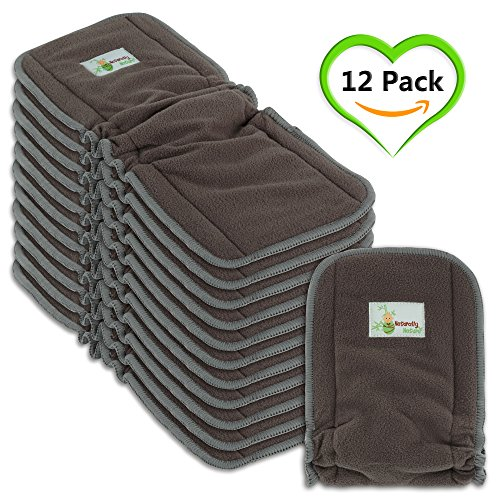 Naturally Natures Cloth Diaper Inserts 5 Layer - insert - Charcoal Bamboo Reusable Liners with Gussets (Pack of 12) (Grey) liner
