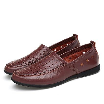 Hongjun-shoes, Mocasines de Cuero Genuino de los Hombres Slip-on Gamuza Plantilla