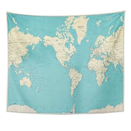 Amazon Com Emvency Decor Wall Tapestry Blue Centric World Map