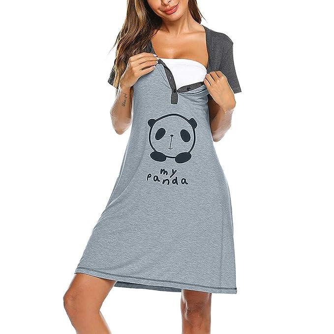 STRIR Camisón premamá de Embarazo y Lactancia,Nursing Nightgown Vestido de Maternidad de Manga Corta para Mujeres Botón Embarazada Lactancia Materna