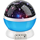 Allnice Novelty 360 Rotating Round Night Light Projector Lamp (Star Moon Sky Projector,3 Model Light, USB Battery Powered) Romantic Home Decoration Lamp Great Gift for Children (Blue)