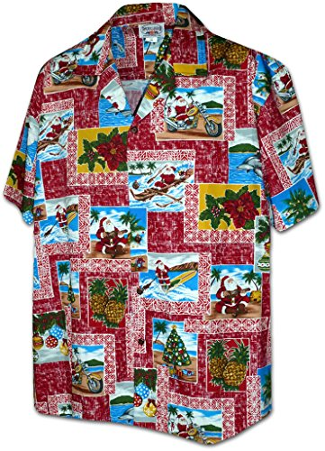 Christmas Island Santa Pacific Legend Apparel Hawaiian Aloha Shirt
